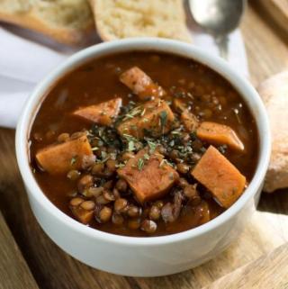 1 pot sweet potato lentil soup in white bowl