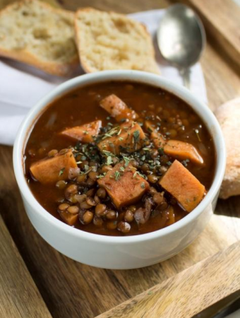 1 pot sweet potato lentil soup in white bowl