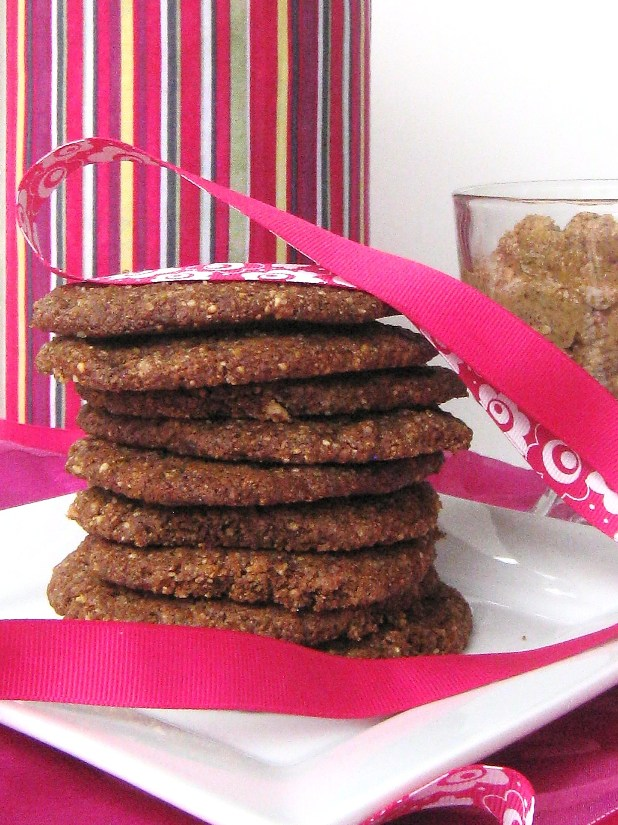 Stack of vegan almond butter cookies on a plate