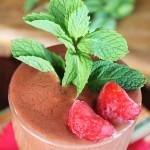 closeup view of mint strawberry chocolate shake