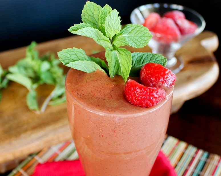 Mint chocolate strawberry shake in a glass