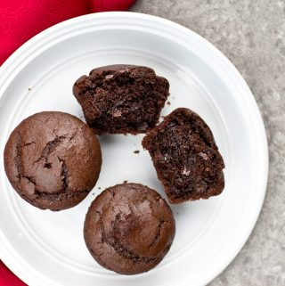white plate with 3 vegan chocolate muffins