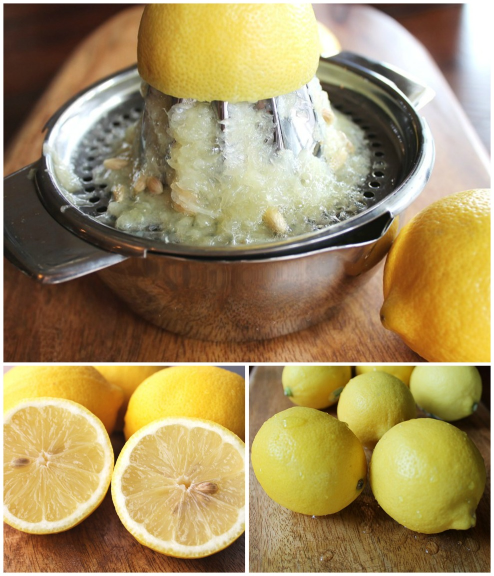 collage of lemons and juicer