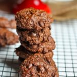Vegan Double Chocolate Espresso Almond Cookies stacked