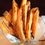sweet potato fries in glass dish