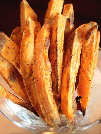 sweet potato fries in glass dish