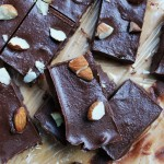 Several pieces of vegan fudge with almonds