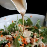 Garlic Kale Salad with Almond Butter Dressing