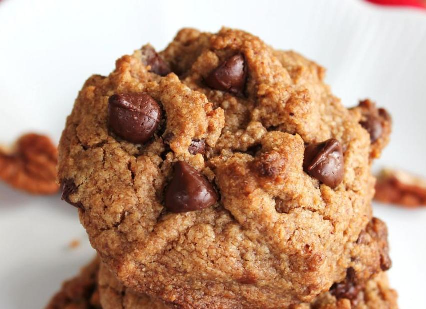 Closeup view of pecan butter chocolate chip cookie