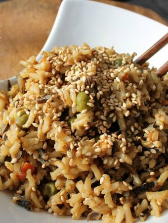 Low-fat Unfried Rice in white bowl