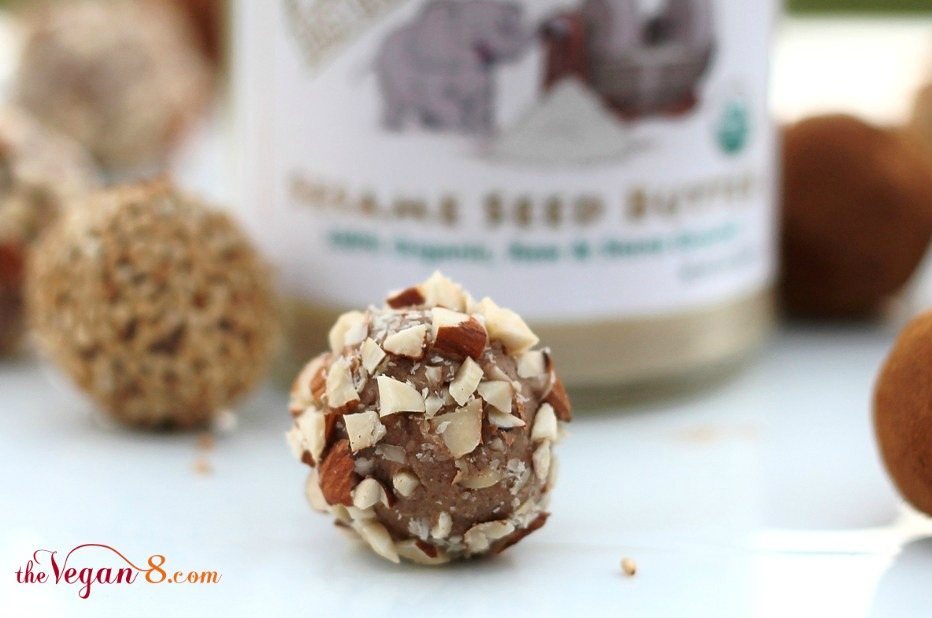 vegan white chocolate truffles rolled in chopped nuts