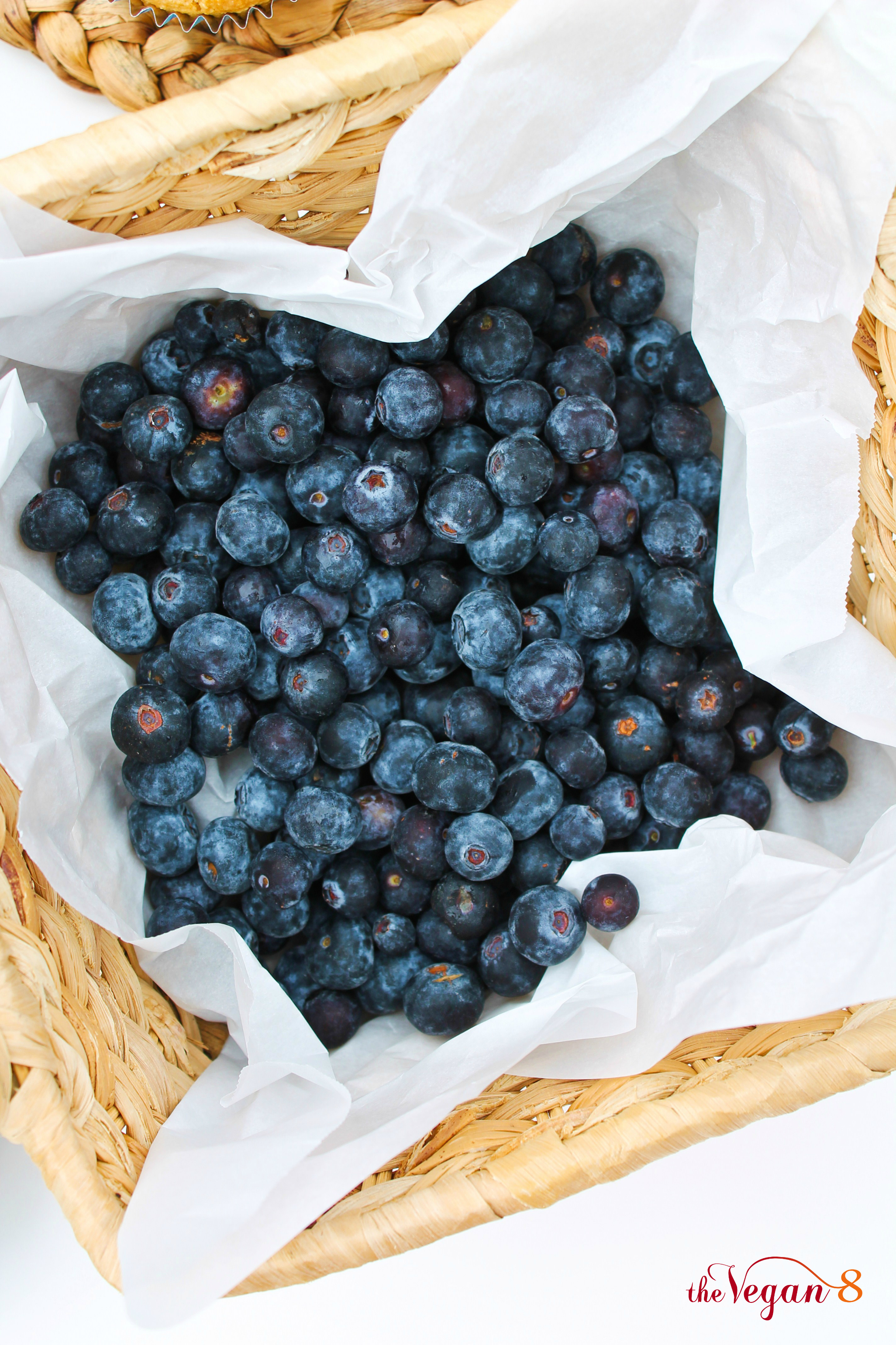 basket of blueberries in parchment paper