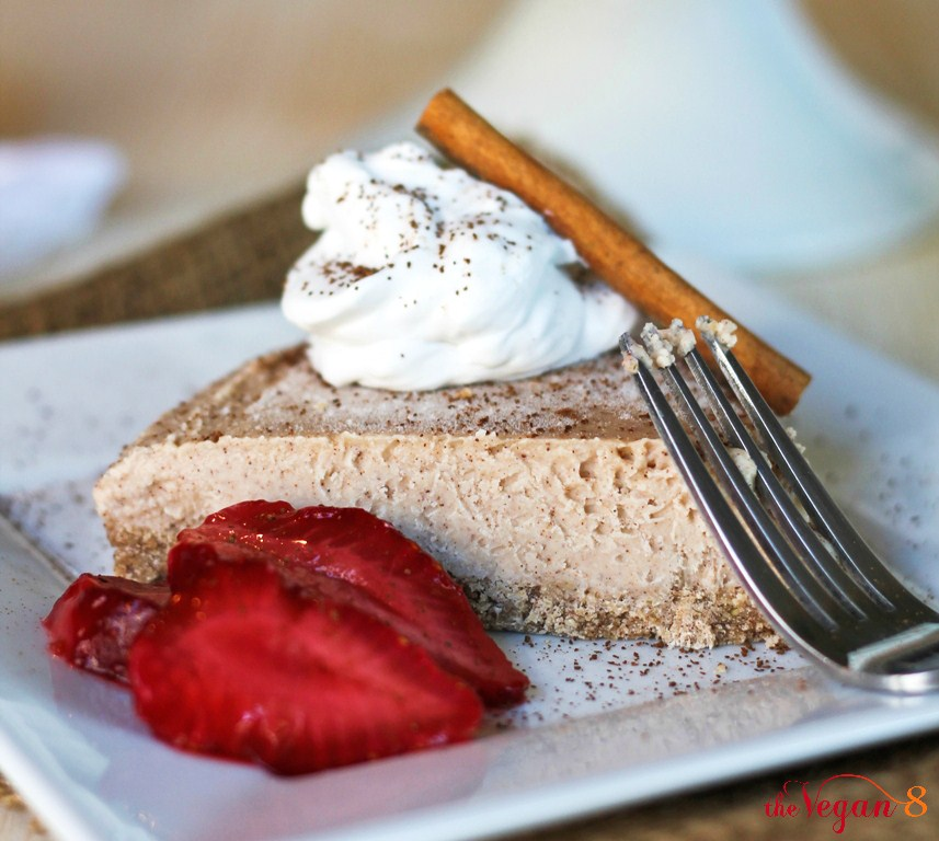 Slice vegan New York style cheesecake on plate