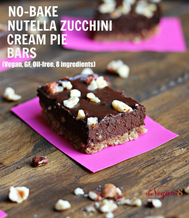 """No-Bake """"Nutella"""" Zucchini Cream Pie Bars (Magazine Feature!)"""