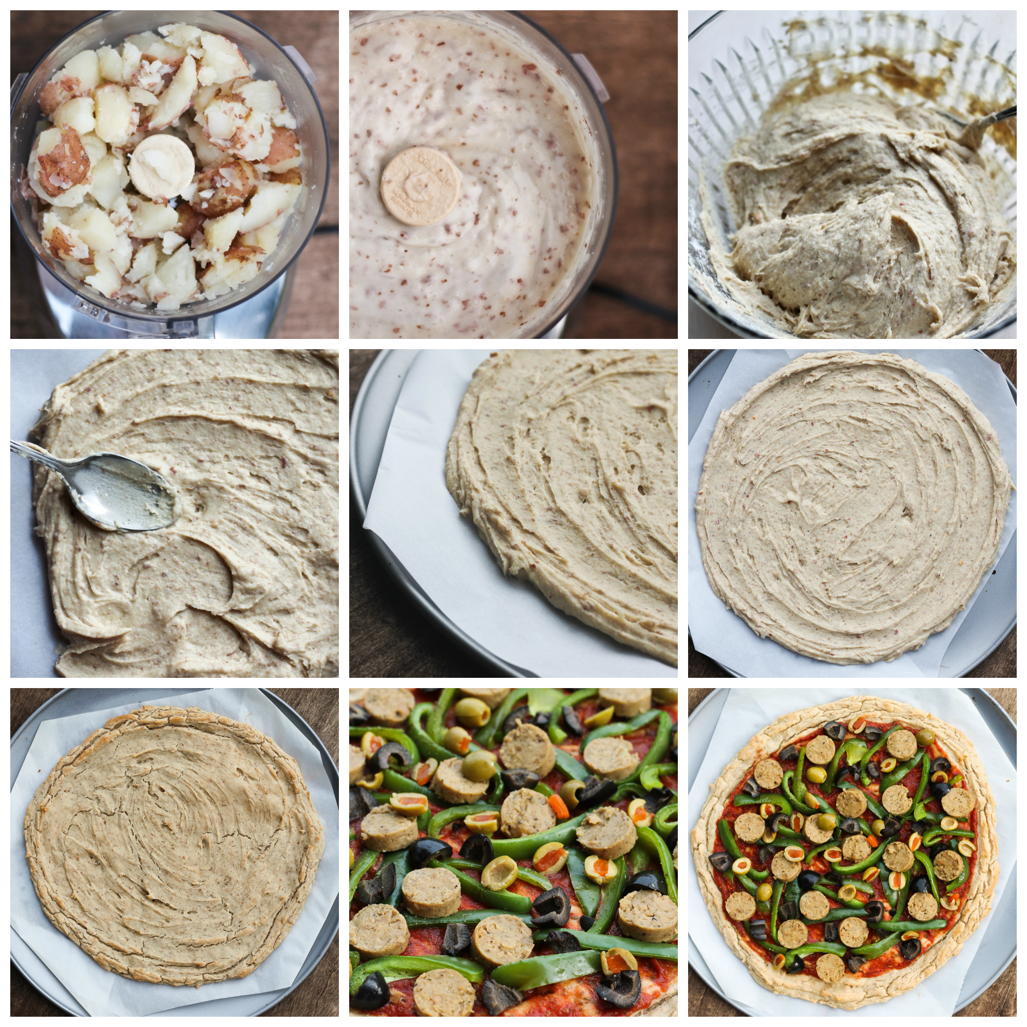 sequence of images showing how to make potato pizza crust