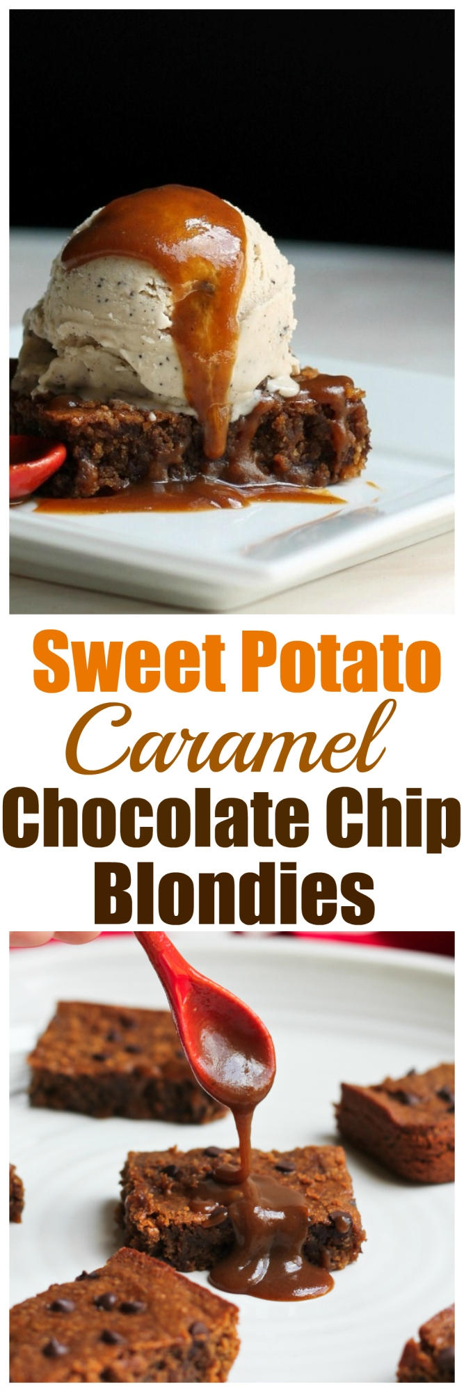 Sweet Potato Caramel Chocolate Chip Blondies (Vegan & Gluten-free)