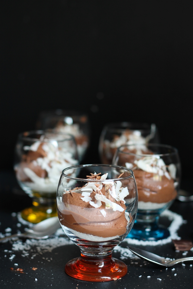 Vegan Almond Joy Pudding in glasses