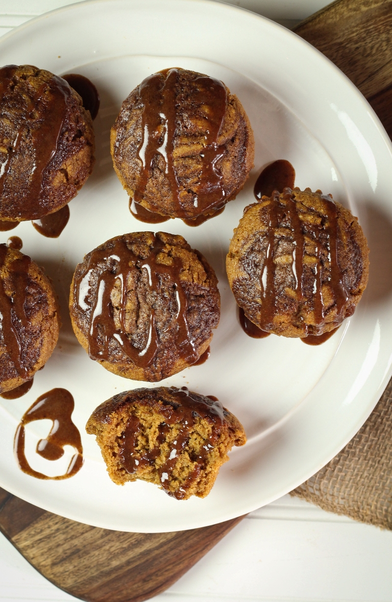 vegan caramel pumpkin muffins on white plate