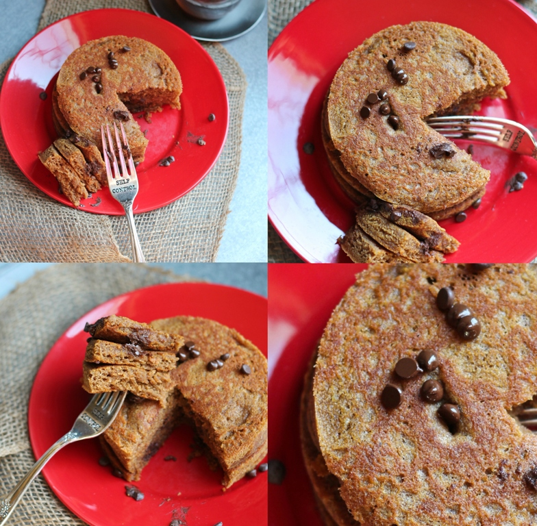 collage of 4 pictures of pumpkin pancakes with fork showing bites of pancakes