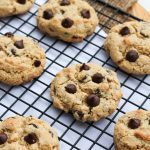baked chocolate chip cookies on cooling rack