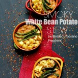 Smoky White Bean Potato Stew with Broiled Poblano Peppers