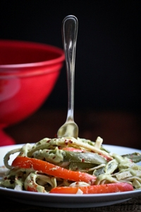 Poblano Pepper Cream Sauce with Peppers and Fettuccine