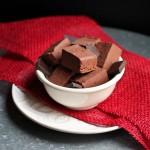 Vegan Dark Chocolate Chipotle Sweet Potato Fudge in white bowl