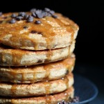 stack of vegan peanut butter pancakes with chocoalte chips