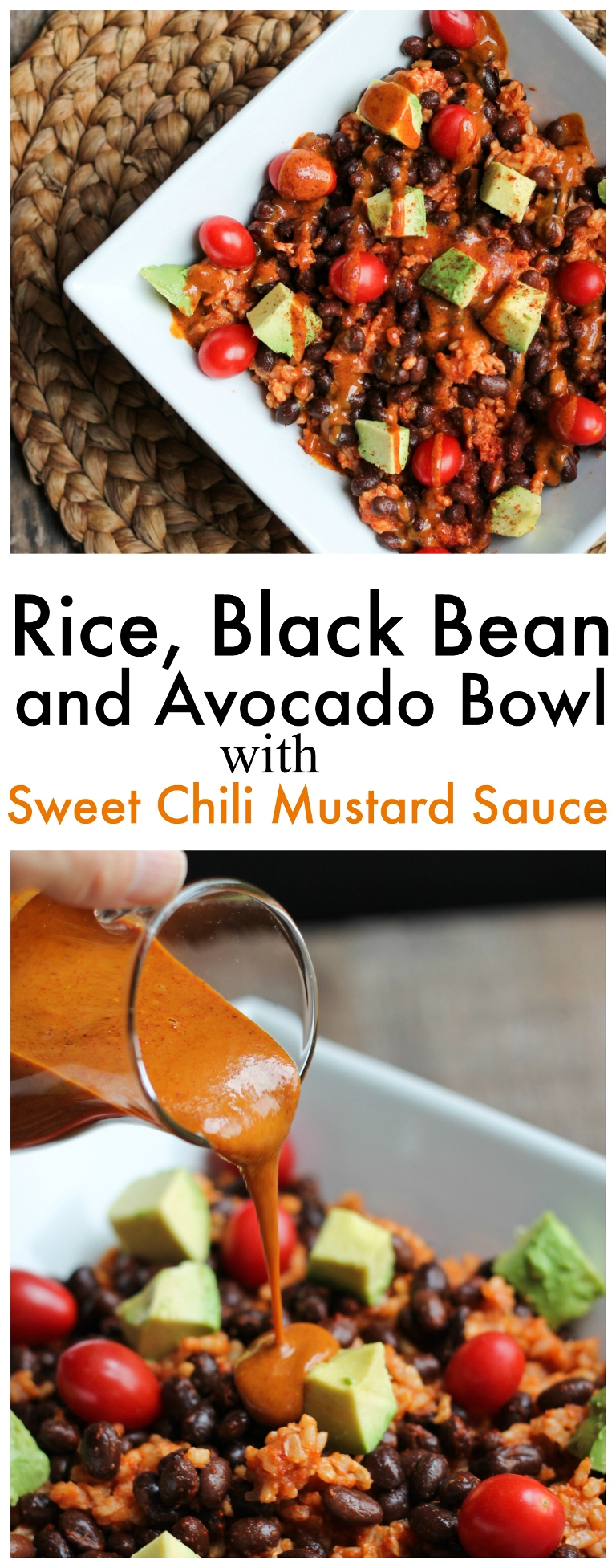 Rice, Black Bean and Avocado Bowl with Fat-Free Sweet Chili Mustard ...