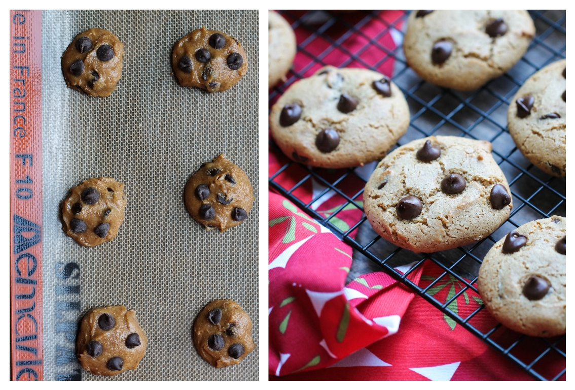 Before and after pictures of baked vegan chocolate chip cookies.