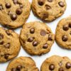 baked vegan gluten-free chocolate chip cookies on white marble