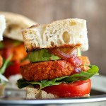Smoky Barbecue Sweet Potato Chickpea Burgers with Fat-Free Barbecue Sauce