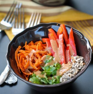 carrot salad on black table