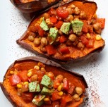 Baked Sweet Potatoes Stuffed with Chickpea Chili