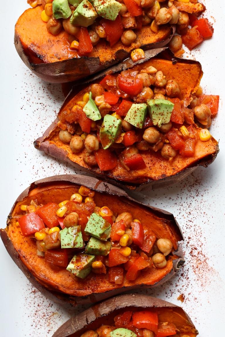 Vegan Baked Sweet Potatoes Chickpea Chili | The Vegan 8