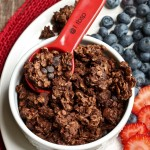 red spoon in white bowl of dark chocolate molasses granola