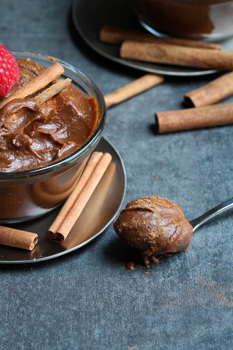 Spoonful of vegan Mexican chocolate sweet potato pudding