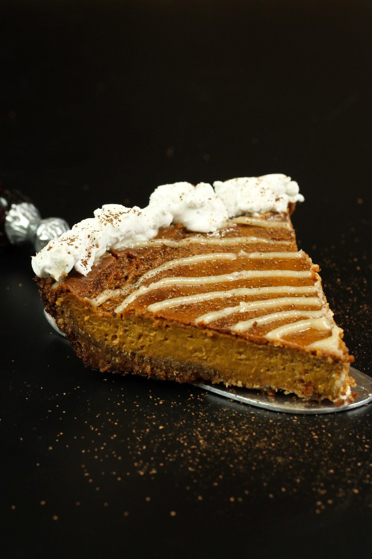 vegan sweet potato pumpkin pie with whipped cream