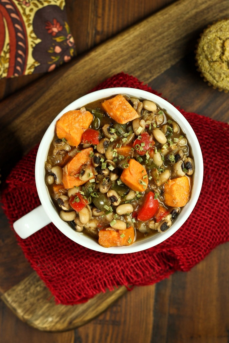 Smoky Sweet Potato Black-eyed Pea Soup in white bowl