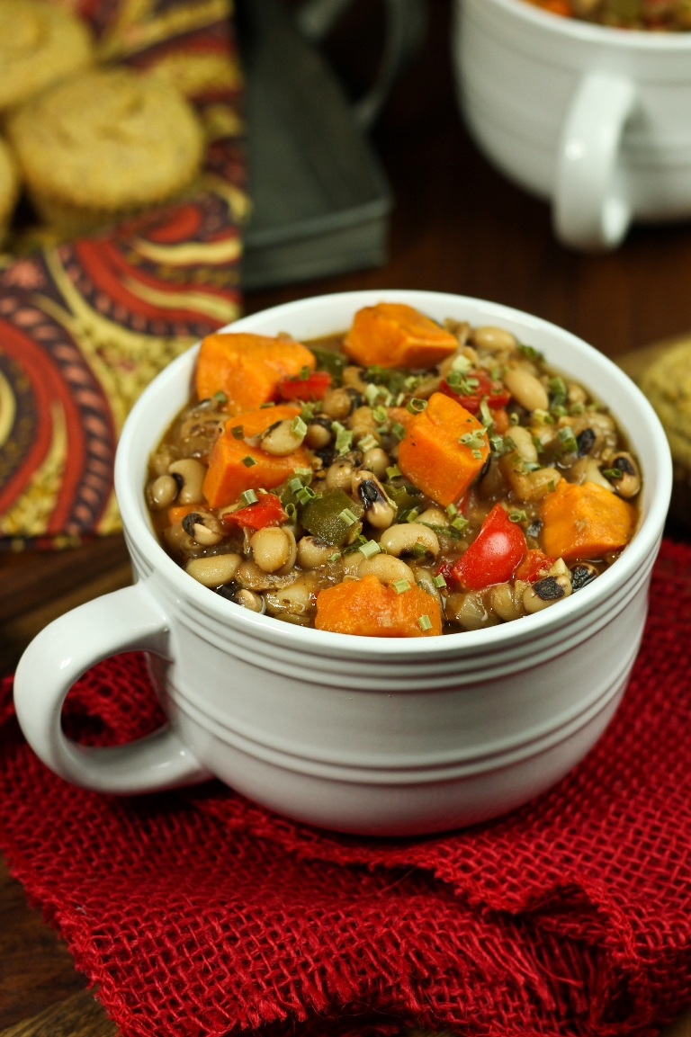 closeup view of smoky sweet potato black-eyed pea soup