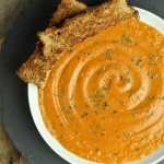 Vegan tomato bisque in white bowl