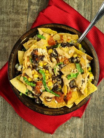 Vegan Mexican burrito bowl with cheese