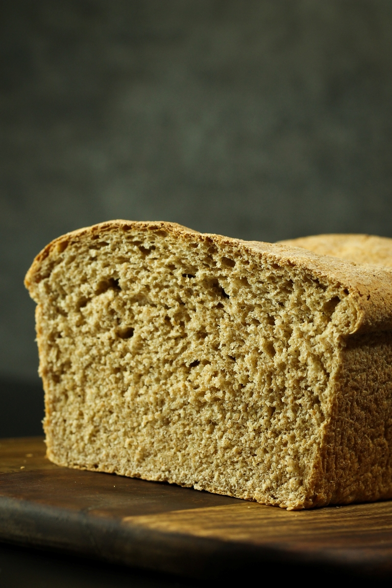 Closeup inside view of fluffy vegan spelt sandwich bread