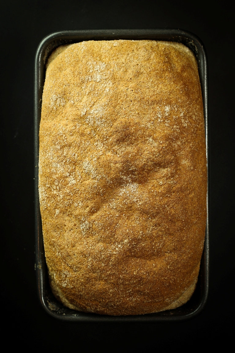 Overhead view of beautiful golden risen spelt loaf