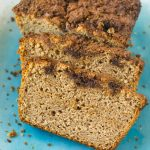 Slices of vegan cinnamon applesauce quick bread