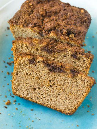 Slices of vegan cinnamon applesauce quick bread