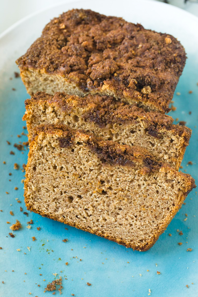 Gorgeous closeup view of slices of vegan cinnamon quick bread