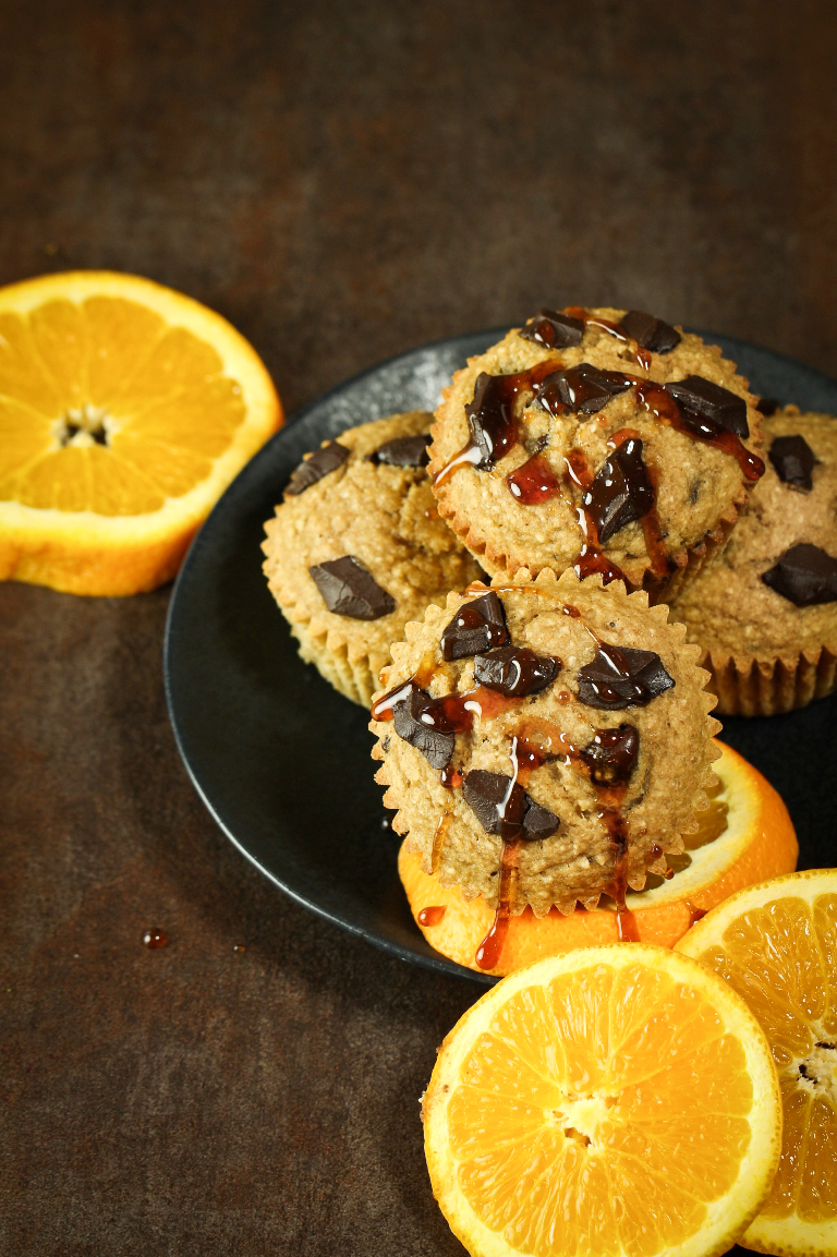 Plate of vegan orange chocolate chip muffins on a plate