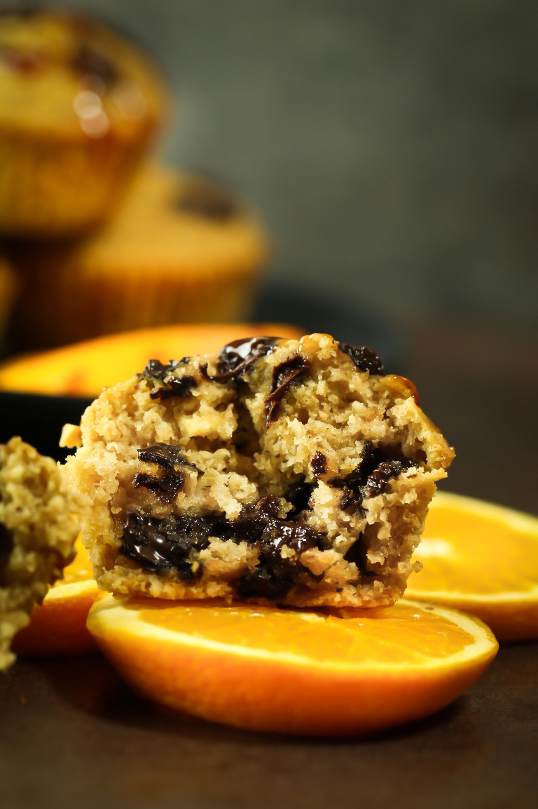 Inside view of muffin showing fluffy texture and chocolate chips