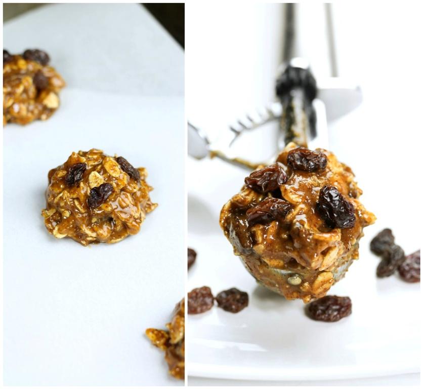Cookie scoop holder with vegan oatmeal raisin cookie batter